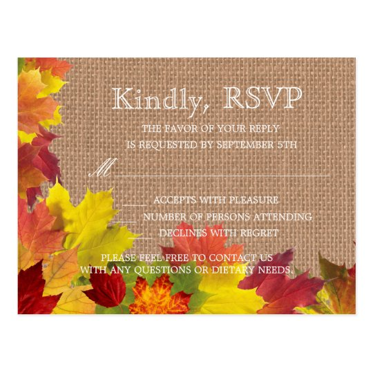 Rustic Fall Leaves Burlap Wedding RSVP Postcard