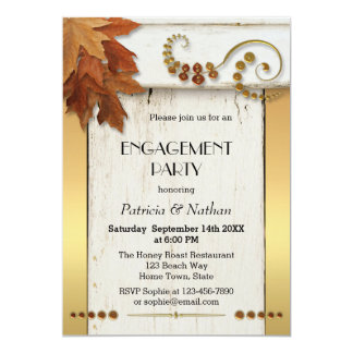 Rustic Fall Leaves Engagement Party Invitation
