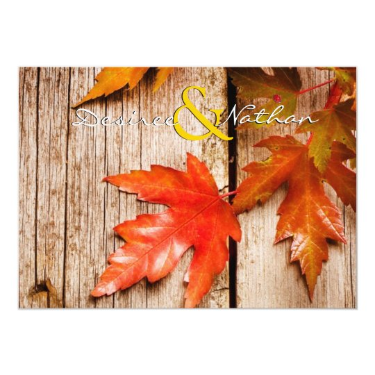 Rustic Fall Leaves Wedding Invitation
