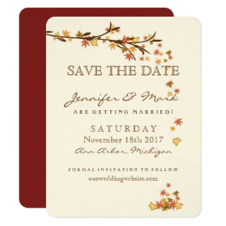 Rustic Fall Leaves Wedding Save the Date Card