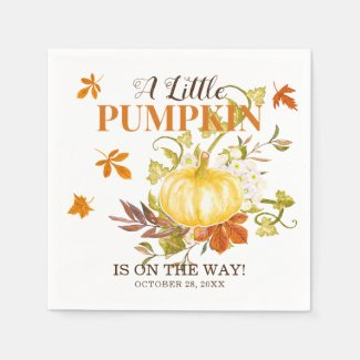 Rustic Fall Pumpkin |  Watercolor Baby Shower Napkin