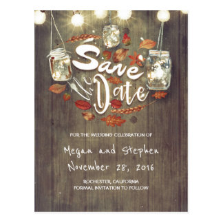 Rustic Fall Save the Date Postcard