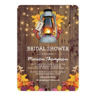 Rustic Fall String Lights Autumn Bridal Shower Card