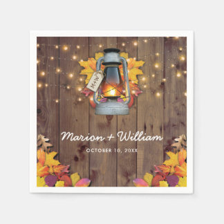 Rustic Fall String Lights Autumn Leaves Wedding Paper Napkins