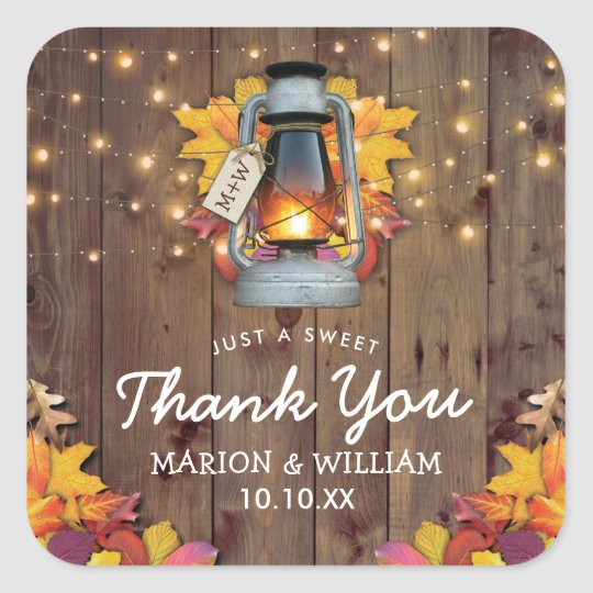 Rustic Fall String Lights Autumn Leaves Wedding Square