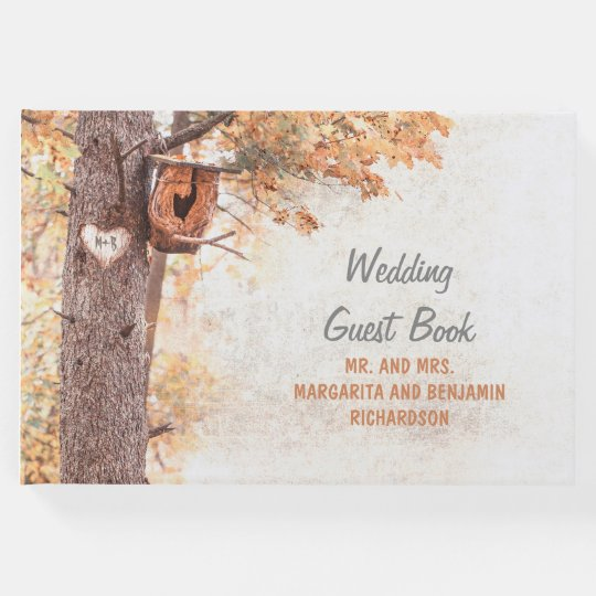 Rustic Fall Tree and Carved Heart Wedding Guest