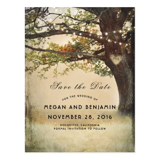 Rustic Fall Tree and Twinkle Lights Save the Date Postcard
