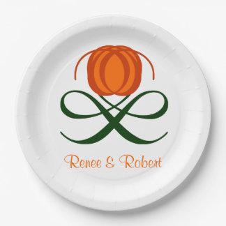Rustic Fall Wedding Abstract Pumpkin Autumn Design 9 Inch Paper Plate