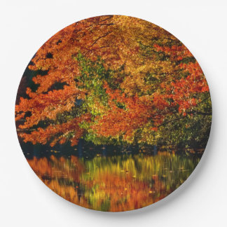Rustic Fall Wedding Colors Autumn Reflection 9 Inch Paper Plate