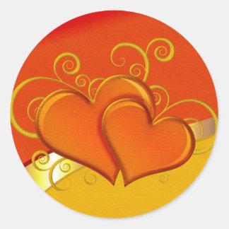 Rustic Fancy Hearts Classic Round Sticker