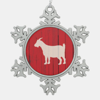Rustic Farm Goat Red Barn Wood Panel Snowflake Pewter Christmas Ornament