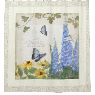 Rustic Farm House Vintage Butterfly Dragonfly Art Shower Curtain