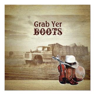 Rustic Farm Truck Western Country Wedding Card