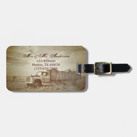 Rustic Farm Truck Western Country Wedding Luggage Tag