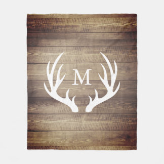 Rustic Farmhouse Barn Wood Deer Antlers Fleece Blanket