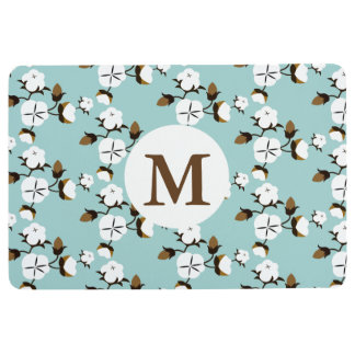 Rustic Farmhouse Cotton Flowers & Teal Floor Mat