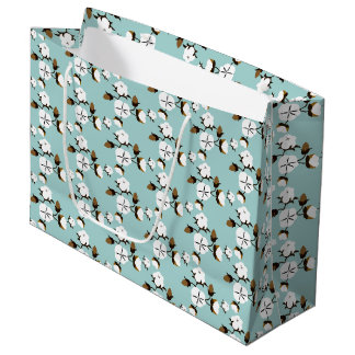 Rustic Farmhouse Cotton Flowers & Teal Large Gift Bag