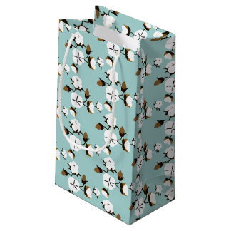 Rustic Farmhouse Cotton Flowers & Teal Small Gift Bag