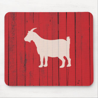 Rustic Farmhouse Goat Red Barn Wood Panel Mouse Mat