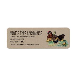 Rustic Farmhouse Return Address Label w/Chicken