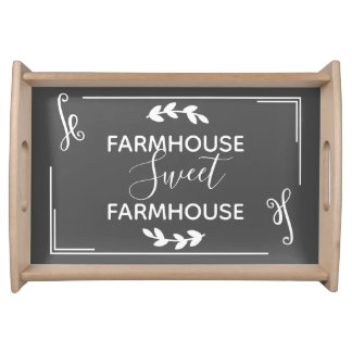 Rustic Farmhouse Sweet Farmhouse White Laurels Serving Tray