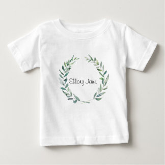 Rustic Farmhouse Watercolor Magnolia Wreath Design Baby T-Shirt