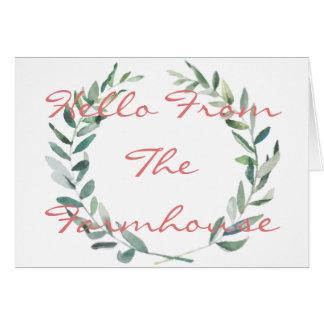 Rustic Farmhouse Watercolor Magnolia Wreath Design Card