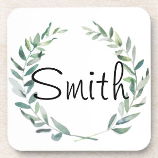 Rustic Farmhouse Watercolor Magnolia Wreath Design Coaster