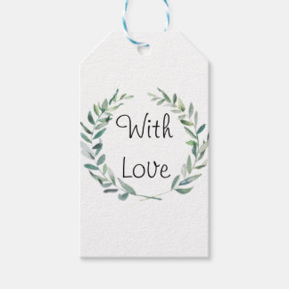 Rustic Farmhouse Watercolor Magnolia Wreath Design Gift Tags