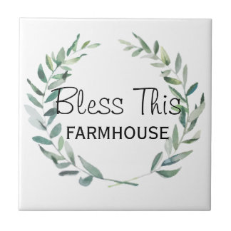 Rustic Farmhouse Watercolor Magnolia Wreath Design Tile