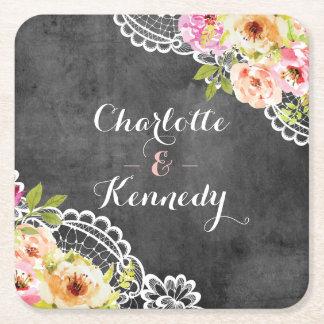 Rustic Farmhouse Wedding Roses & Lace Chalkboard Square Paper Coaster