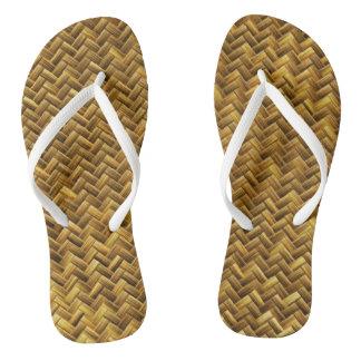 Rustic Faux Bamboo Basket Weave Pattern Texture Flip Flops