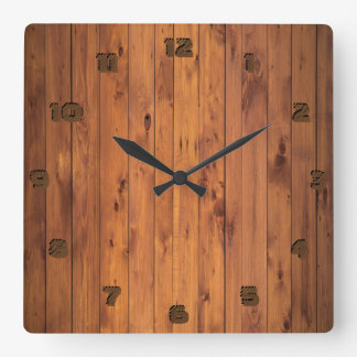 Rustic Faux Cherry Wood Stylized 3d Number Square Wall Clock