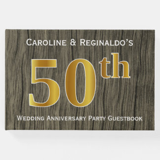 Rustic, Faux Gold 50th Wedding Anniversary Party Guest Book
