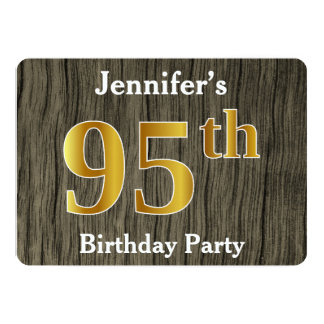 Rustic, Faux Gold 95th Birthday Party; Custom Name Card