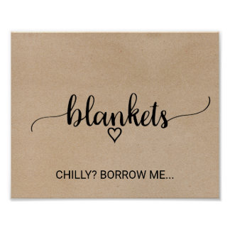Rustic Faux Kraft Calligraphy Blankets Poster