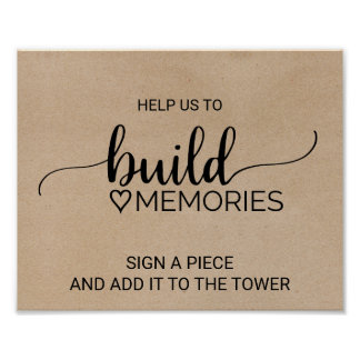 Rustic Faux Kraft Calligraphy Build Memories Poster
