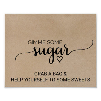 Rustic Faux Kraft Calligraphy Gimme Some Sugar Poster