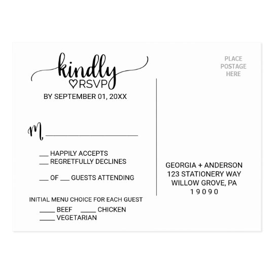 Rustic Faux Kraft Calligraphy Menu Choice RSVP Postcard