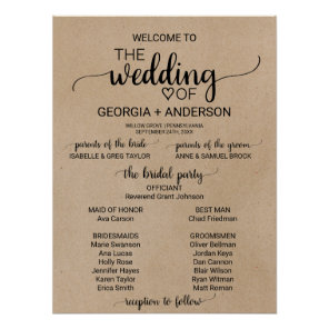 Rustic Faux Kraft Calligraphy Wedding Program Poster