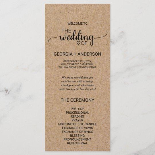 Rustic Faux Kraft Calligraphy Wedding Program Programme