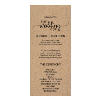 Rustic Faux Kraft Calligraphy Wedding Program Rack Card