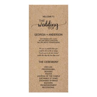 Rustic Faux Kraft Calligraphy Wedding Program Rack Card