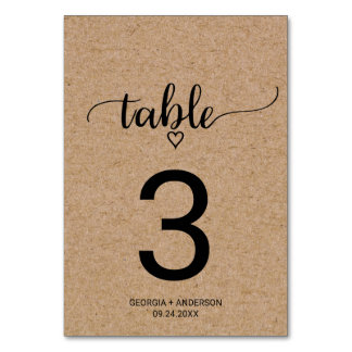 Rustic Faux Kraft Calligraphy Wedding Table Number Table Cards