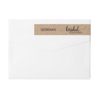 Rustic Faux Kraft Modern Calligraphy Bridal Shower Wraparound Return Address Label
