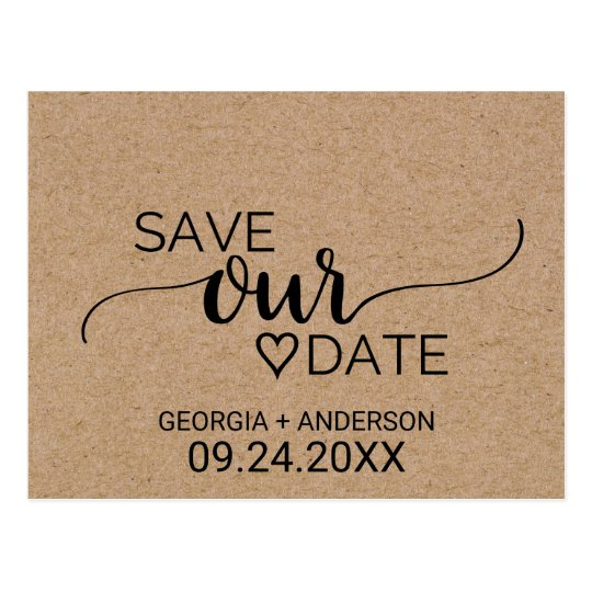 Rustic Faux Kraft Modern Calligraphy Save Our Date