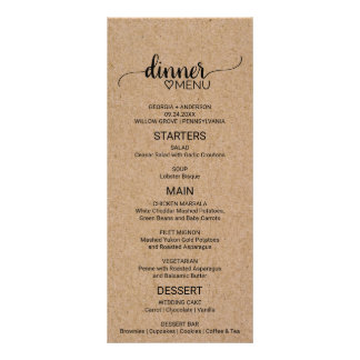 Rustic Faux Kraft Paper Calligraphy Wedding Menu Customized Rack Card