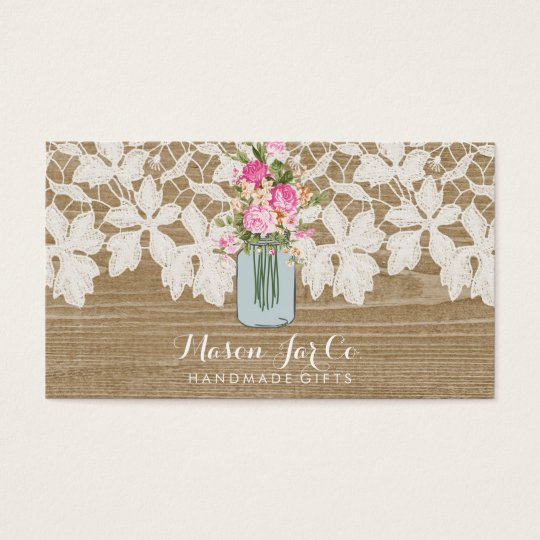 Rustic Faux Wood with Lace and Flower Mason Jar Business Card