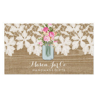 Rustic Faux Wood with Lace and Flower Mason Jar Pack Of Standard Business Cards