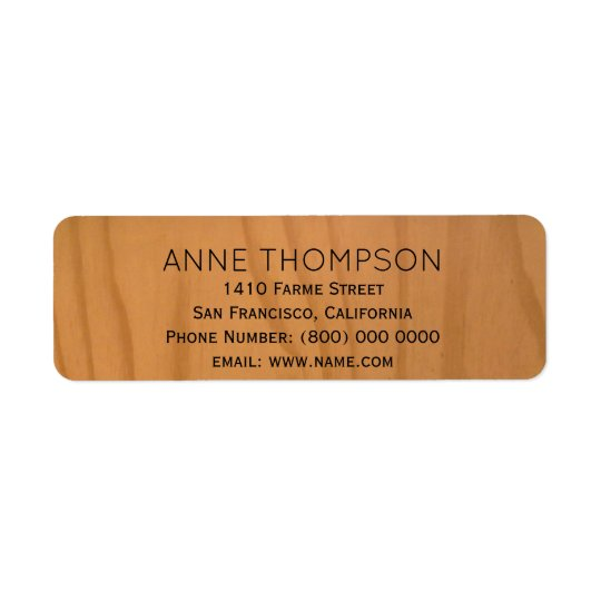 rustic faux wood with name return address label